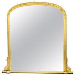 Antique Arched Top Giltwood Overmantle Mirror, 19th Century