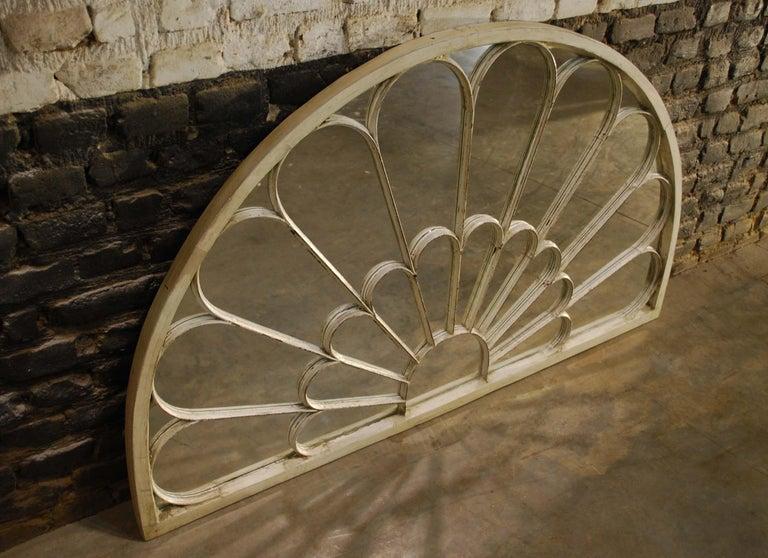 Georgian Antique Architectual Arched Top Window Fanlight Mirror Conversion For Sale