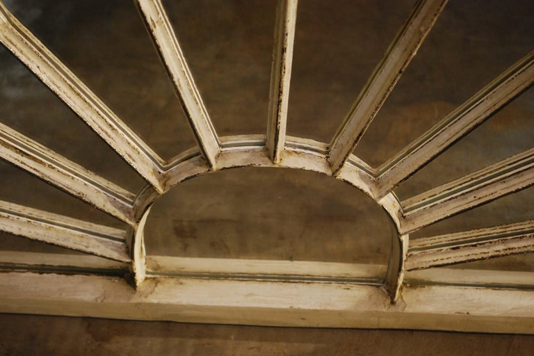 20th Century Antique Architectual Arched Top Window Fanlight Mirror Conversion For Sale