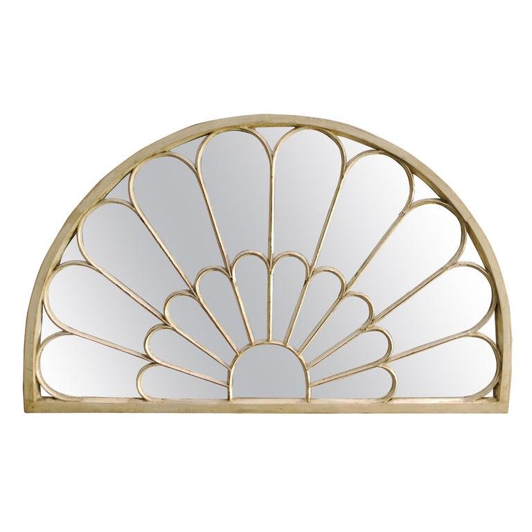 Antique Architectual Arched Top Window Fanlight Mirror Conversion For Sale