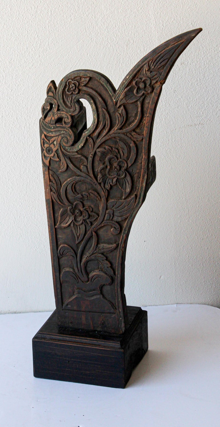 Antique Architectural Carved Wood Temple Fragment For Sale 7