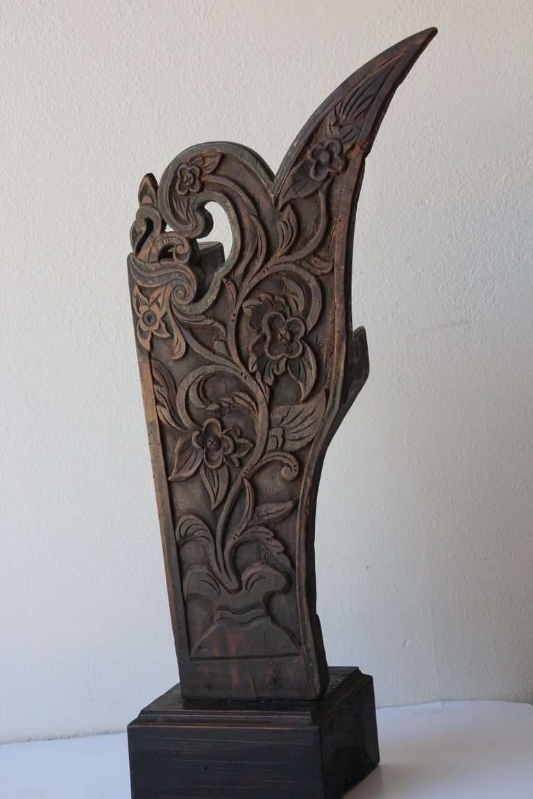 Antique Architectural Carved Wood Temple Fragment For Sale 9
