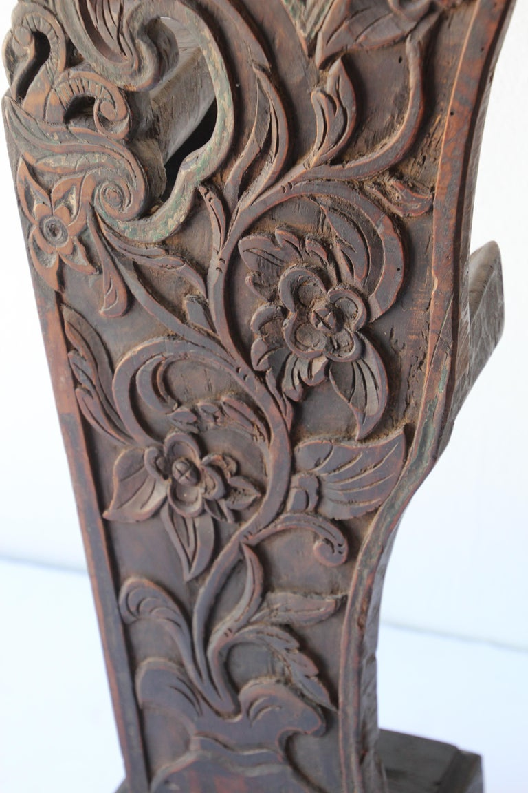 Antique Architectural Carved Wood Temple Fragment For Sale 2