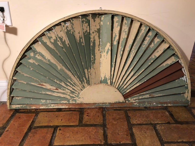 Antique Architectural Demilune Sunburst Window Fragment For Sale 7