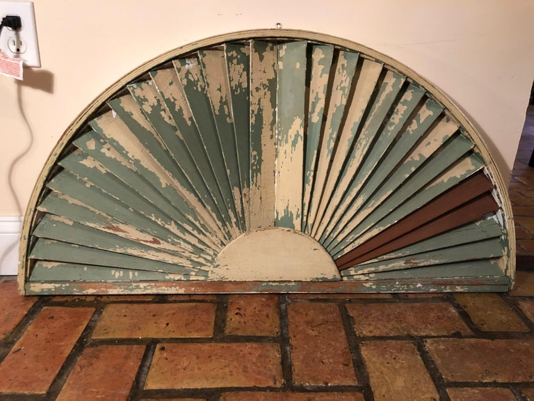 Antique Architectural Demilune Sunburst Window Fragment For Sale 8
