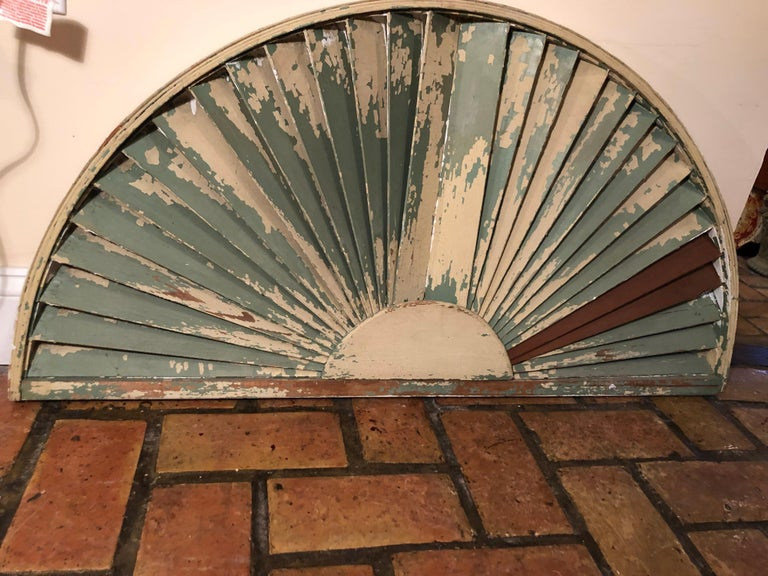 Antique Architectural Demilune Sunburst Window Fragment For Sale 9