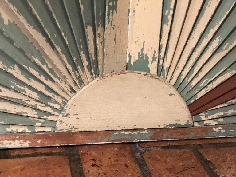 Antique Architectural Demilune Sunburst Window Fragment For Sale 11