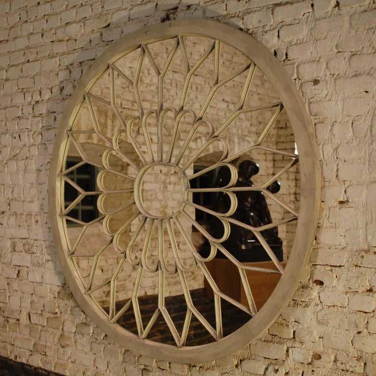 British Antique Architectural Double Arched Top Window Fanlight Mirror Conversion For Sale