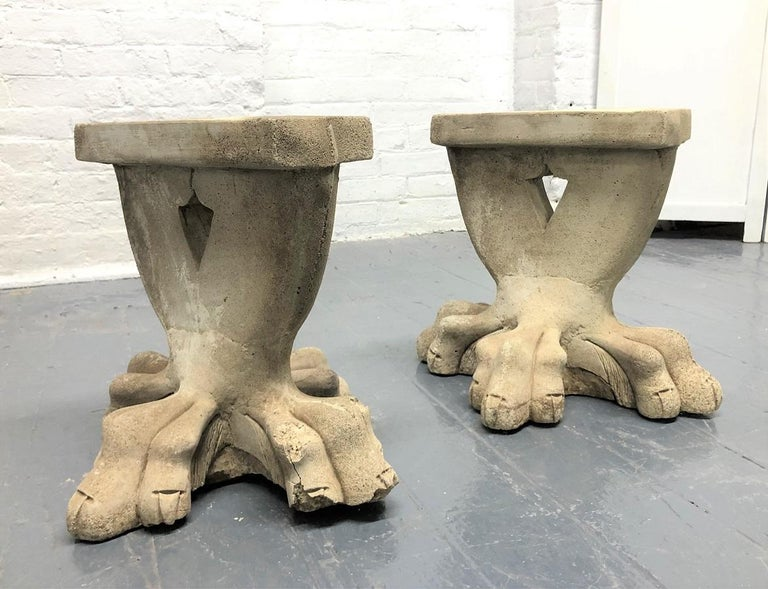 Antique architectural garden cement bench bases. This would look nice with a marble or cement top.