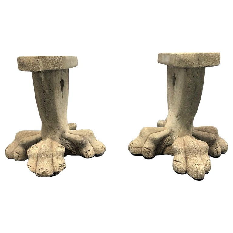 Antique Architectural Garden Cement Bench Bases For Sale