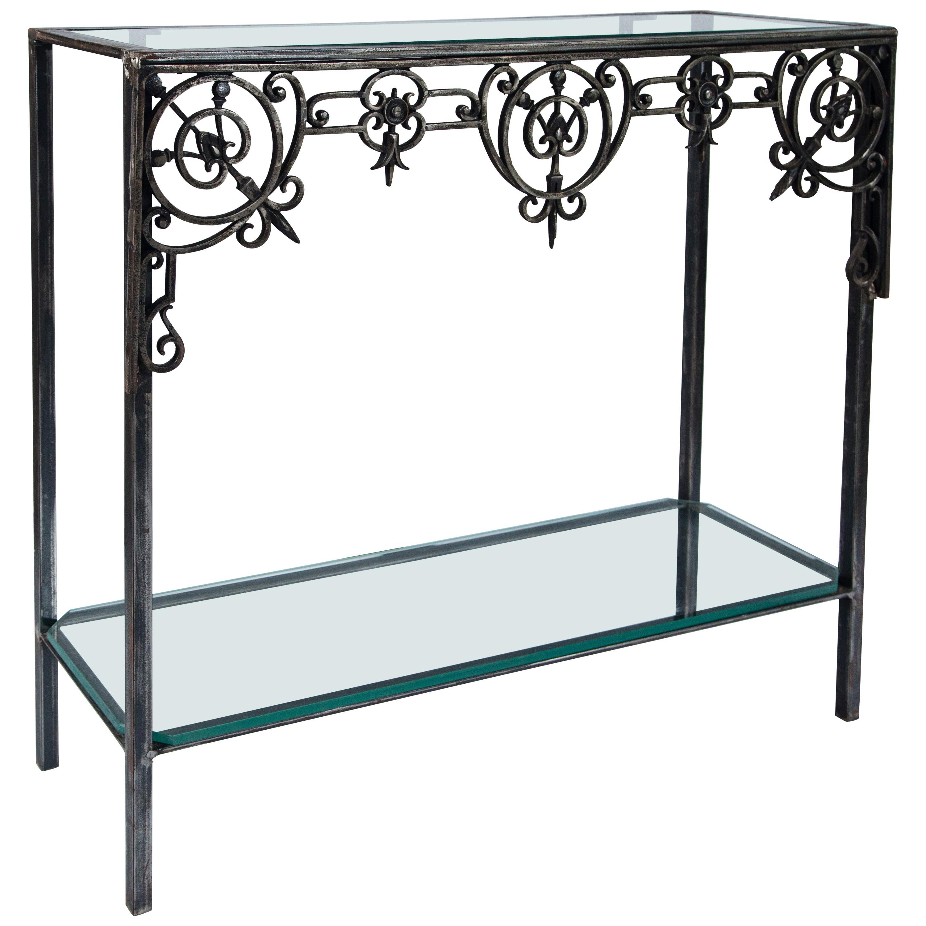 Antique Architectural Iron Custom Console Table, France