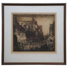 Antique Architectural Press Cathedral Cityscape Etching After Frank Brangwyn