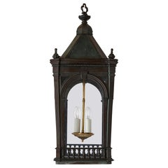 Antique Architectural Victorian Period Brass Four-Light Lantern