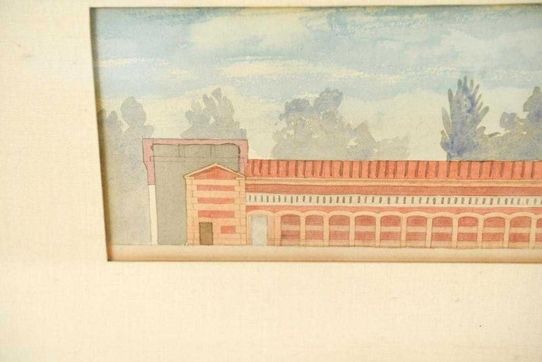 Hand-Painted Antique Architectural Watercolor of Two Neoclassical Buildings For Sale