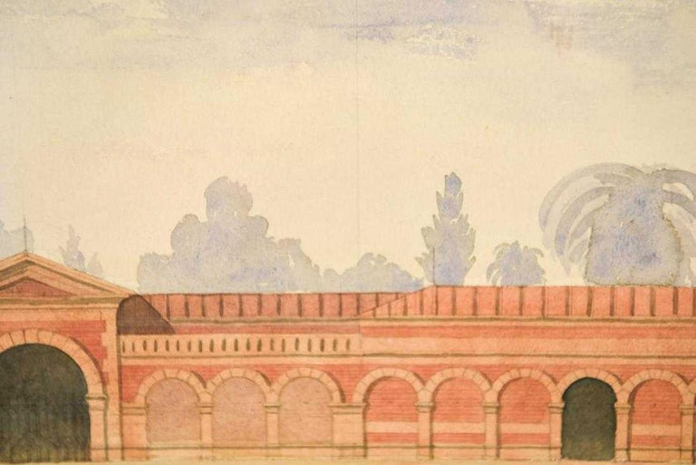 Paper Antique Architectural Watercolor of Two Neoclassical Buildings For Sale