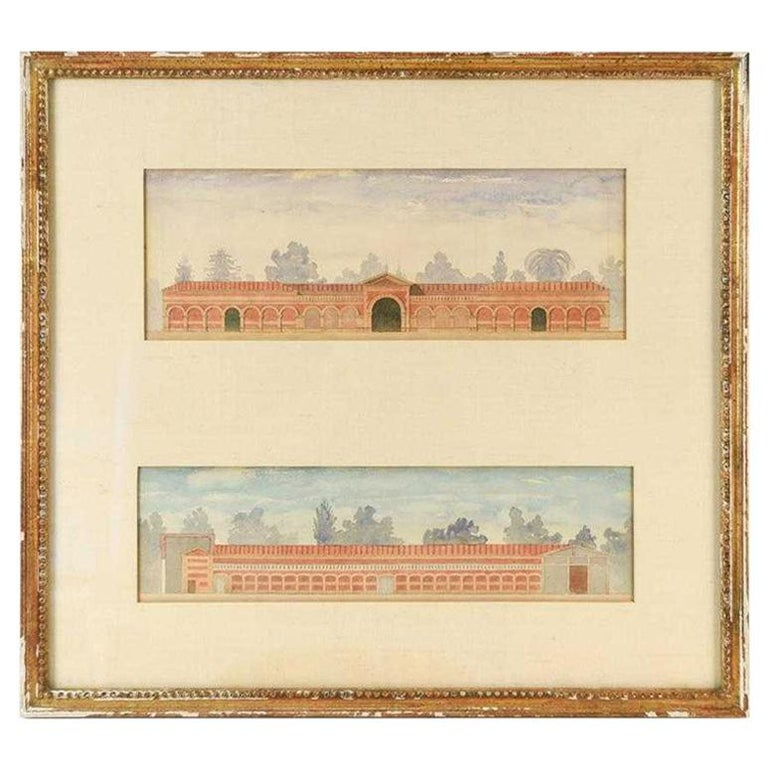 Antique Architectural Watercolor of Two Neoclassical Buildings For Sale