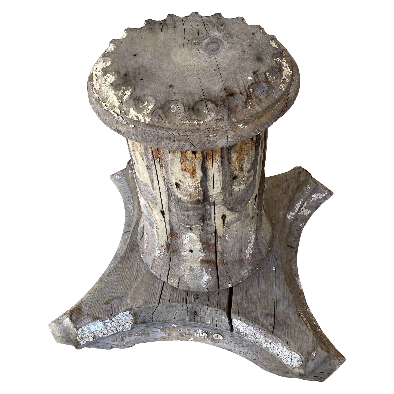 Antique Architectural Wood Pedestal Plinth, 2 Available