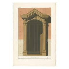 Antique Architecture Print of Carpentry/Woodwork by Delarue (c.1880)