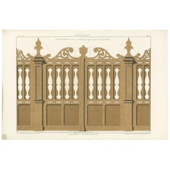 Architecture Print of Woodwork of an Entry Door by Delarue, circa 1880