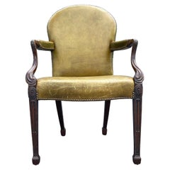 Antique Arm Chair, Green Leather, Desk Chair