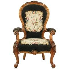 Antique Arm Chair, Spoon Back Chair, Walnut, Victorian, Scotland 1860, B1564