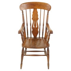 Antique Arm Chair, Windsor High Back, Country Beech Chair, Scotland 1880, B2366