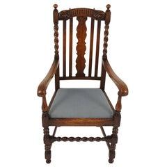 Antique Armchair, Carved Oak, Barley Twist Armchair, Scotland 1920, B2158