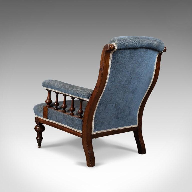 19th Century Antique Armchair, English, Victorian, Club Chair, Walnut, Blue, circa 1880
