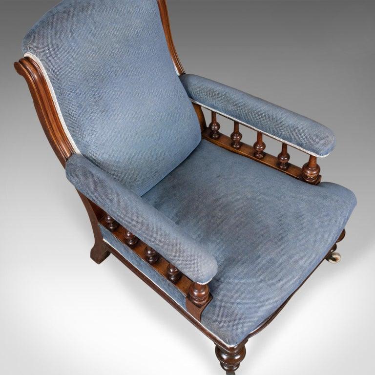 Antique Armchair, English, Victorian, Club Chair, Walnut, Blue, circa 1880 2