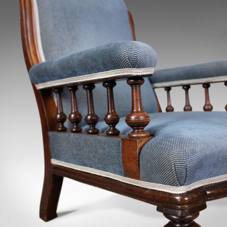 Antique Armchair, English, Victorian, Club Chair, Walnut, Blue, circa 1880 3
