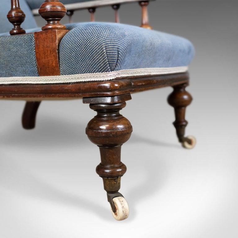 Antique Armchair, English, Victorian, Club Chair, Walnut, Blue, circa 1880 4
