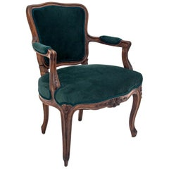 Antique Armchair in Bottle Green from the Beginning of the 20th Century