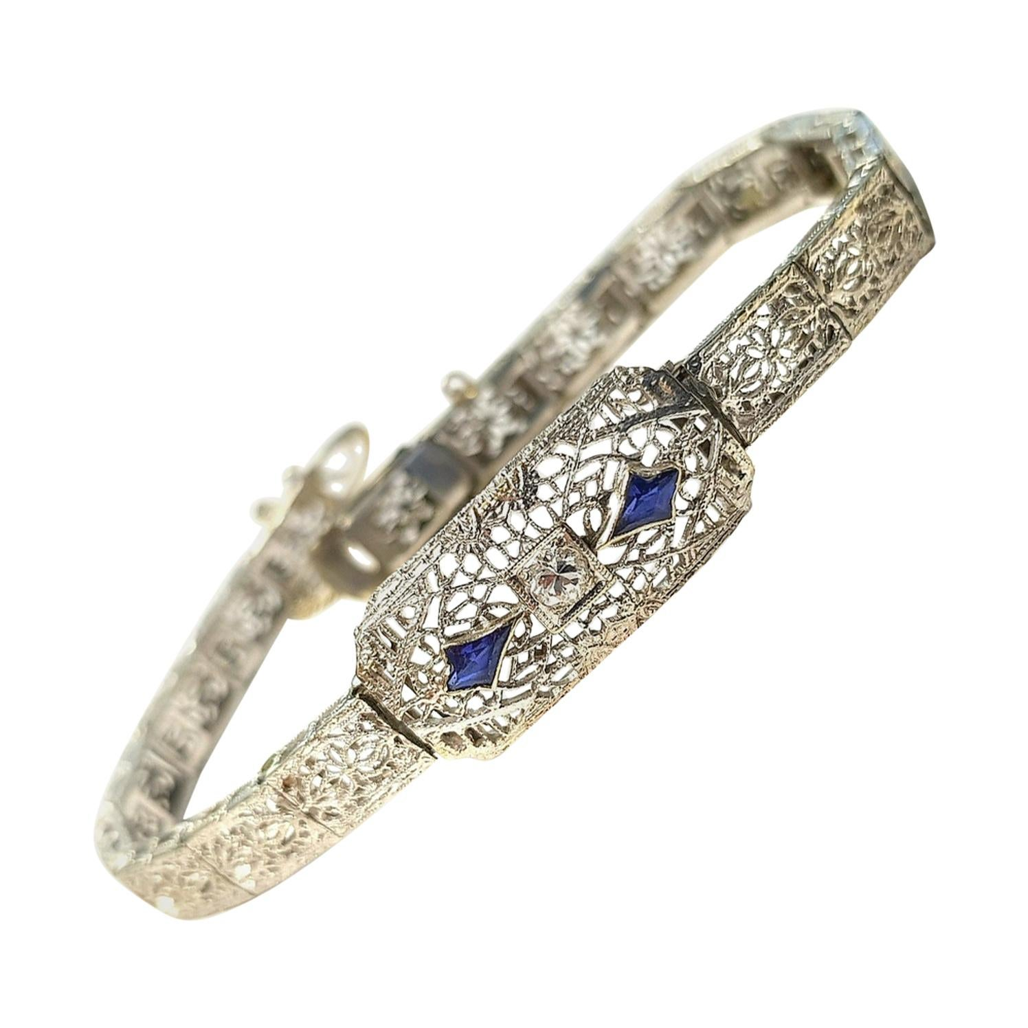 Art Deco Style 10 Karat Gold Bracelet with Sapphires and 0.10 Carat Diamond