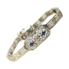 Art Deco Style 10 Karat Gold Bracelet with Sapphires and 0.10 Carat Diamond