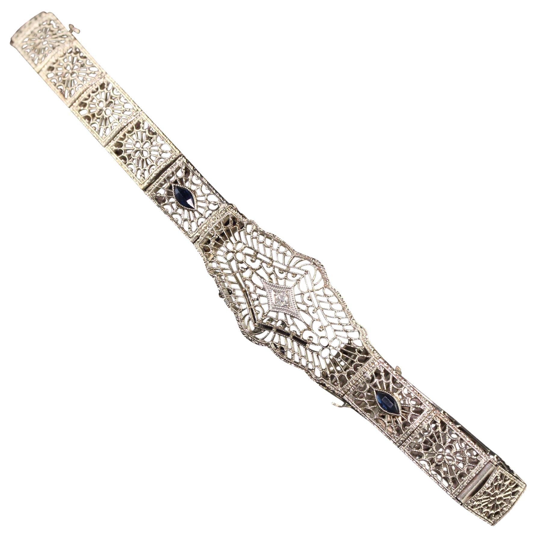 Antique Art Deco 10 Karat White Gold Diamond and Sapphire Filigree Bracelet