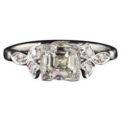 Antique Art Deco 1.26 Carat Asscher Cut Diamond Engagement Ring, GIA Certified