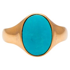 Antique, Art Deco, 14 Carat Yellow Gold, Oval Turquoise Signet Ring