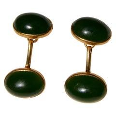 Antique Art Deco 14 Karat Gold Jade Cufflinks