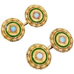 Antique Art Deco 14 Karat Gold Round Cufflinks Fire Opal and Blue Green Enamel