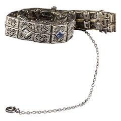 Antique Art Deco 14 Karat White Gold Diamond and Sapphire Bracelet