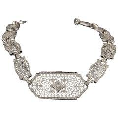 Antique Art Deco 14 Karat White Gold Diamond Bracelet