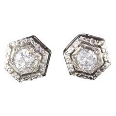 Antique Art Deco 14 Karat White Gold Diamond Stud Earrings