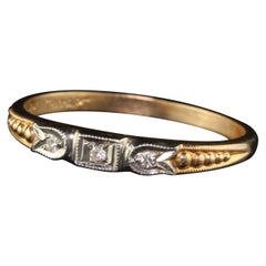 Antique Art Deco 14 Karat Yellow Gold 3-Stone Diamond Wedding Band