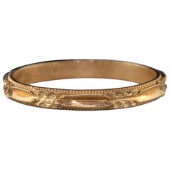 Antique Art Deco 14 Karat Yellow Gold Engraved Wedding Band