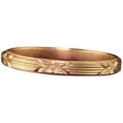 Antique Art Deco 14 Karat Yellow Gold Engraved Wedding Band