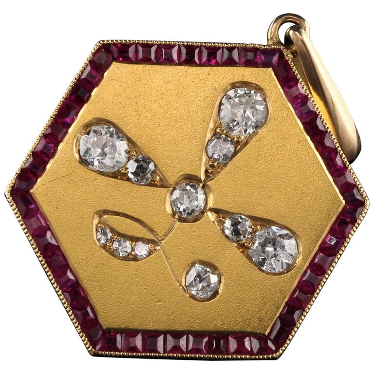 Antique Art Deco 14 Karat Yellow Gold Old Euro Cut Diamond and Ruby Pendant For Sale