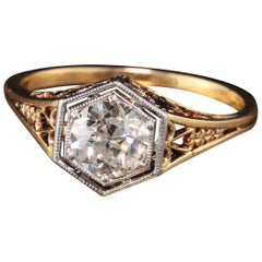 Antique Art Deco 14 Karat Yellow Gold Old European Diamond Engagement Ring