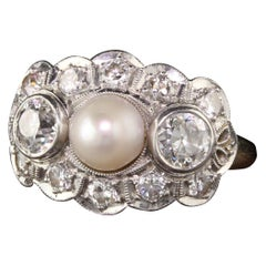 Antique Art Deco 14 Karat Yellow Gold Platinum Three-Stone Pearl Diamond Ring
