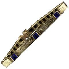 Antique Art Deco 14 Karat Yellow Gold Sapphire Bracelet