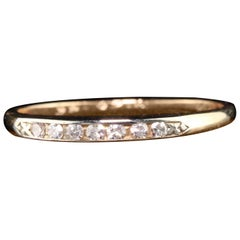 Antique Art Deco 14 Karat Yellow Gold Single Cut Diamond Wedding Band